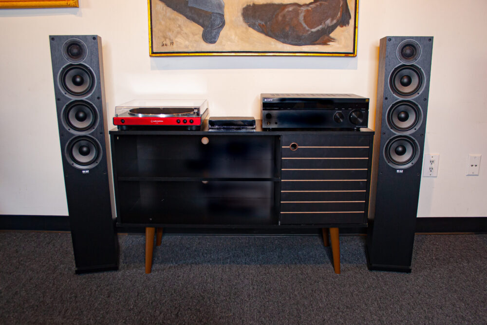 Shows our Elac Debut Floorstanding Sound System